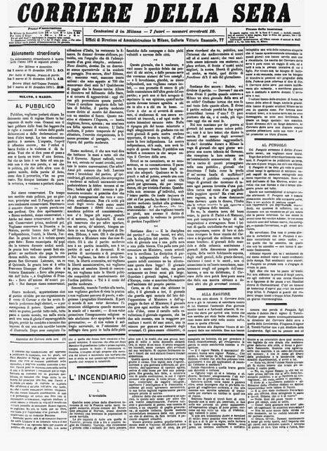 """5 MARZO – NEL 1876 LO STRILLONE GRIDAVA """"CORRIERE DELLA SERA"""""""