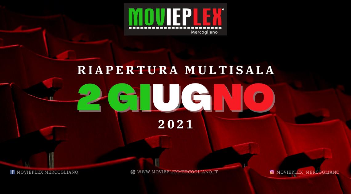 MERCOGLIANO – RIAPRE IL CINEMA MOVIEPLEX: IN SALA DAL 2 GIUGNO 2021