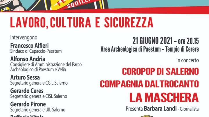 """CAPACCIO – AL PARCO ARCHEOLOGICO LA """"FESTA DELLA MUSICA 2021"""": LAVORO, CULTURA E SICUREZZA"""