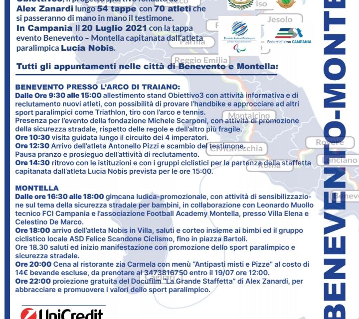 PARACICLISMO – IL 20 LUGLIO GRANDE STAFFETTA DI OBIETTIVO3 IN CAMPANIA